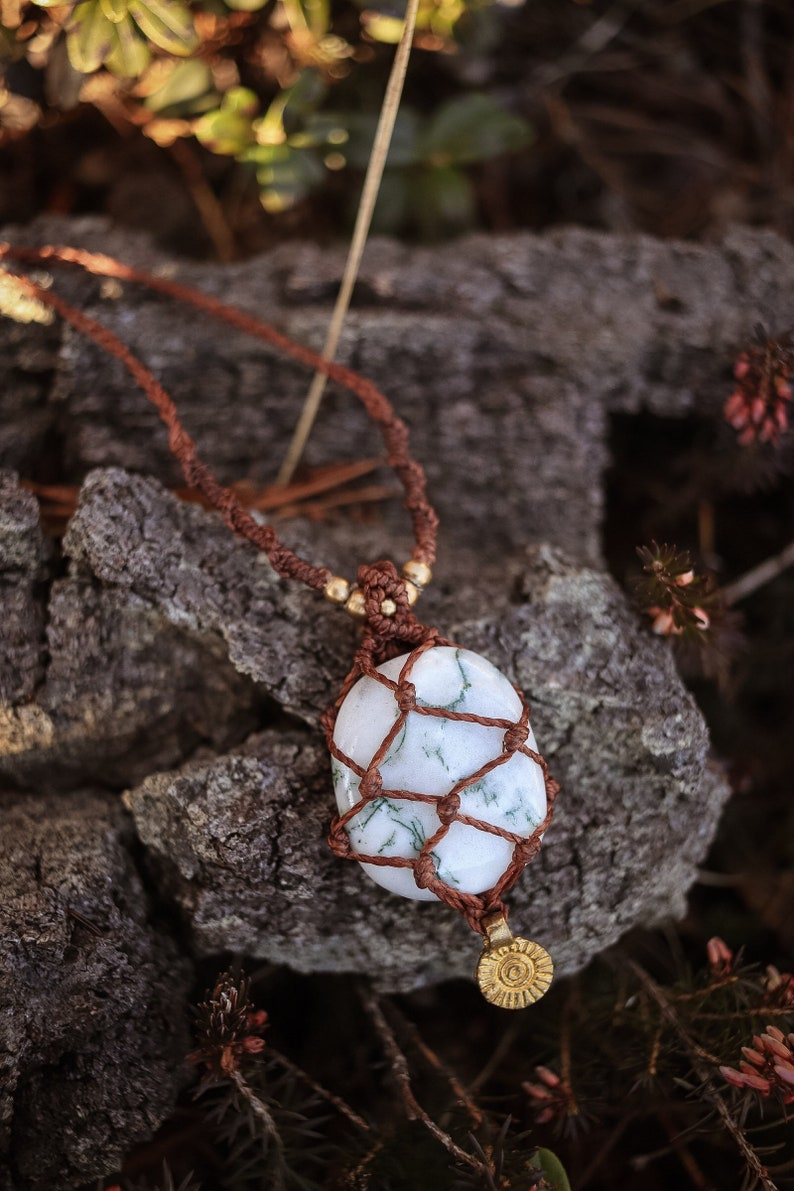 Gemstone Brass Sun Boho Jewellery Crystal Necklace encased healing stone Hippie Necklace Macrame Necklace Tree Agate