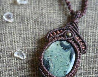 Macrium necklace, macrium jewelry with Kambaba Jasper