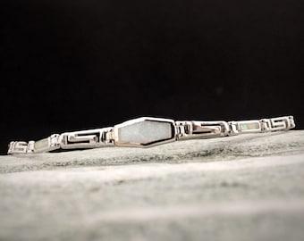 meander bracelet, greek key white opal silver 925 bracelet, greek limited jewelry collection,  bijoux grec, birthday meander jewel gift