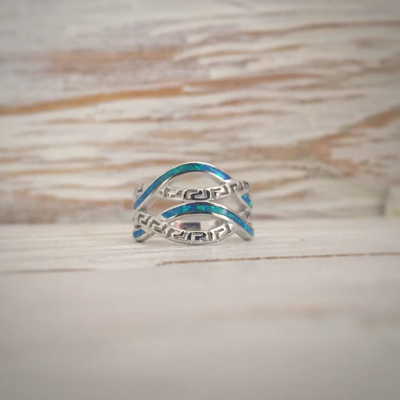 meander ring opal, meander-greek key blue opal ring, sterling silver 925  ring, greek ancient jewelry, greek ring