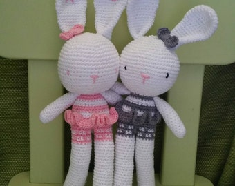 MADE-TO-ORDER: Crochet Bunny Girl for Babies/Newborns/Amigurumi/Stuffed Toys/Plushies/Gift For Loved Ones/Props