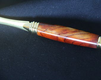 24kt Gold Plated Deluxe Letter Opener with Exotic Cocobolo Hardwood Handle