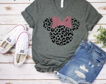 2d2726b00eb5 Mickey leopard shirt,minnie leopard top,disney cheetah shirt,safari disney  shirt,unisex vneck top,mickey mouse cheetah print