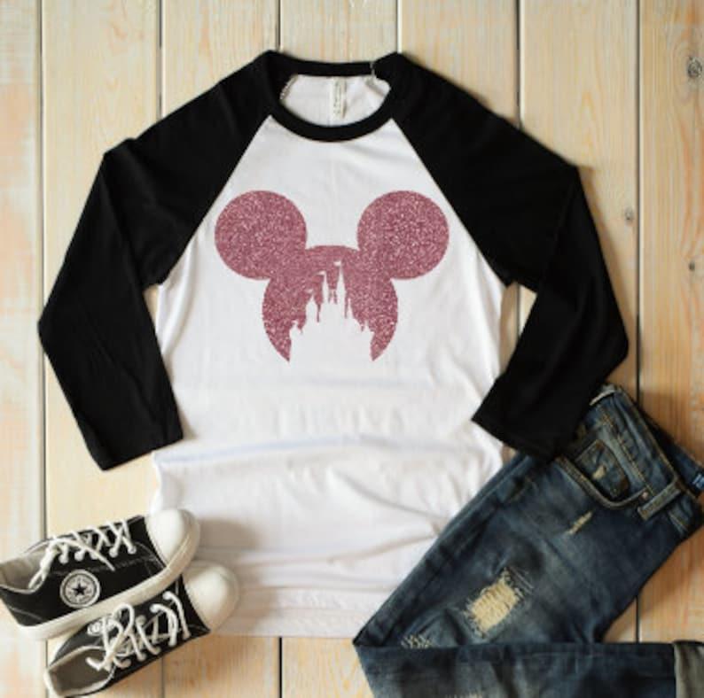 7b1d09f6e Baseball shirt glitter mickey mouse castle shirt mickey mouse   Etsy