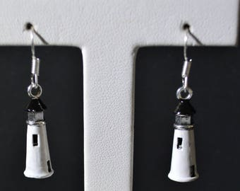 Hand Painted White Lighthouse Earring's Silver plated