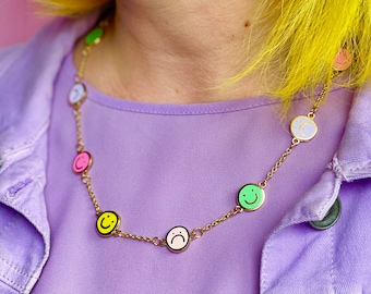 MIXED EMOTIONS Enamel Charm Necklace - Smiley Pastel Rainbow Smiley Charms Statement Accessory - GOLD Plating