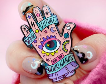 LIMITED EDITION GLITTER Your Future Is In Your Hands Pink Glitter Enamel Pin - Mystical Mental health Pin - Magical Themed Enamel Pin