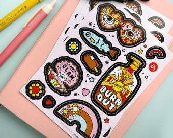 Summer Mental Health Sticker Sheet - Vinyl sticker sheet - Durable vinyl laptop stickers - Stationery Lover - Planner Stickers