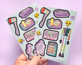 Halloween Sticker Sheet - Vinyl sticker sheet - Durable vinyl laptop stickers - Stationery Lover - Notebook Stickers - Planner Stickers