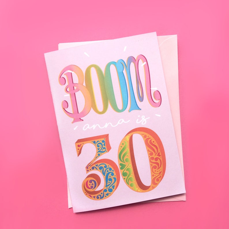 30th Personalised Birthday Card BOOM Youre 30