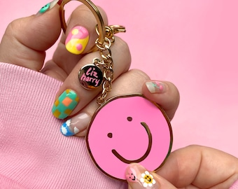 A Little Good In Everyday Smiley Keychain in PINK - Mental health Keyring Purse Charm - Positive Reminder Keyring