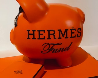 Large Hermes Piggy Bank made with Authentic Ribbon!