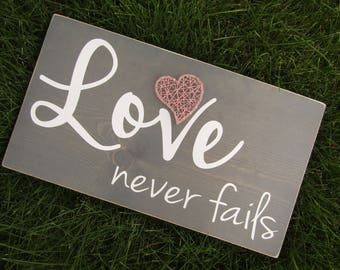 Love Never Fails with Heart String Art *Made-to-Order*
