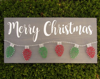 Merry Christmas Lights String Art *Made-to-Order*