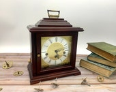 Vintage mechanical clockwork clock reproduction bracket clock, with Westminster chiming movement by Hermle, working very well.