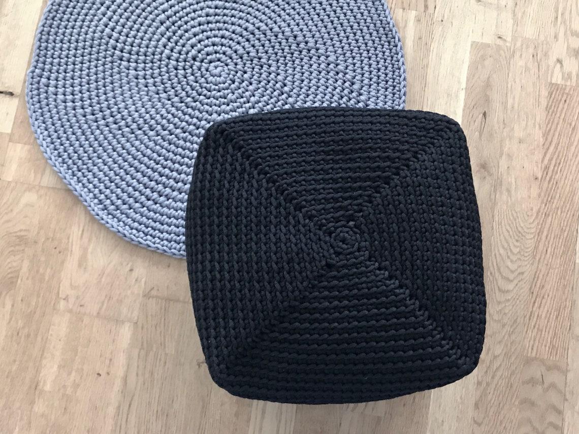 Living room ottoman, black pouf, Floor cushion, Bean bag chair, Crochet hassock, Floor pillow