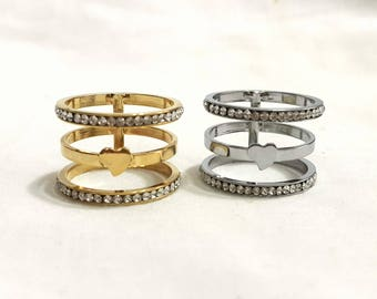 Triple band ring, Midi ring, Silver knuckle ring, Four band ring, Multi band ring, Adjustable triple band ring, Stackable rings, gold band
