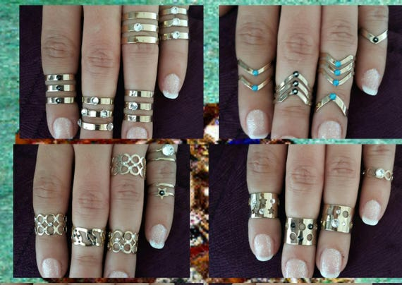 Gold Midi Rings Design Your Own Rings With Stones Gold Etsy