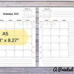 "2020 Detailed Month on Two Pages MO2P A5 SIZE Printed Planner Inserts 5.83"" x 8.27"""