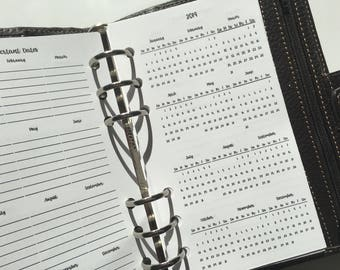 2018 & 2019 Year at a Glance Printed PERSONAL SIZE Planner Inserts with Important Dates for Filofax, Kikki K, Kate Spade Planners
