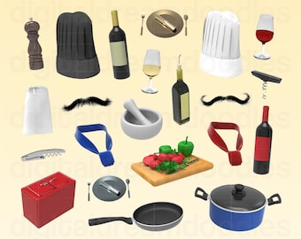 Chef Clipart, Cooking Clip Art, Cook Graphic, Kitchen Image, Sous Chef Picture, Restaurant Cook Scrapbook, Bistro Eatery Digital Download