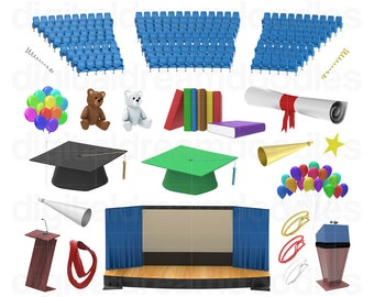 Graduation Clipart, Graduation Clip Art, Diploma Image, Graduate Party, Grad Graphic, Ceremony Scrapbook, Commencement PNG, Digital Download