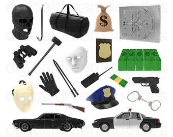 Cops and Robbers Clipart, Criminal Clip Art, Heist Image, Thief Graphic, Crook PNG, Crime, Robbery, Felon Scrapbook, Outlaw Digital Download