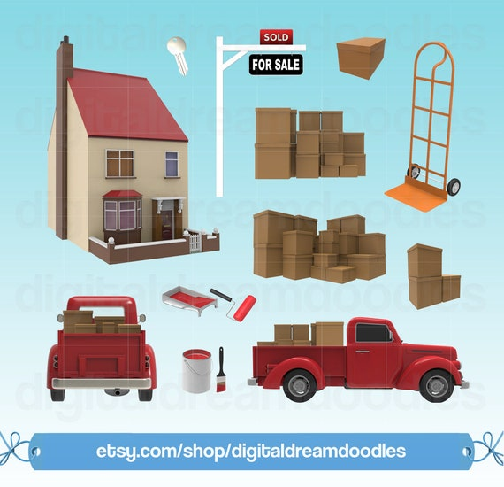 Moving Day Clipart Moving Boxes Clip Art Sold House Image
