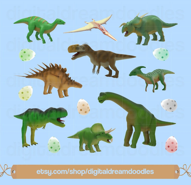 Dinosaur Clipart, Dino Clip Art, Paleontologist Image, Paleontology  Graphic, Jurassic Scrapbook, T-Rex PNG, Triceratops Digital Download