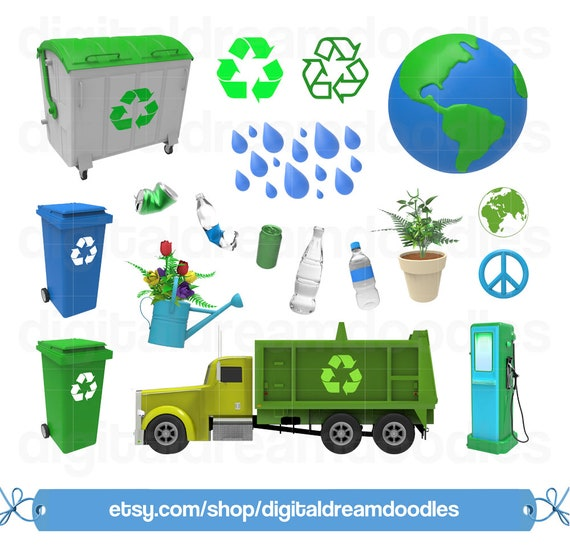 Recycle Clipart Earth Day Clipart Recycling Clip Art Garbage Truck Image Eco Friendly Graphic Trash Cleanup Scrapbook Digital Download