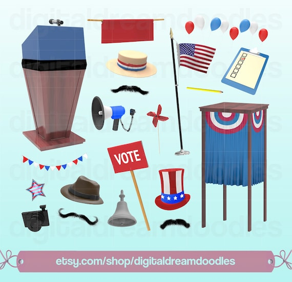 Election Clipart Vote Clip Art Podium Image Voting Booth Etsy