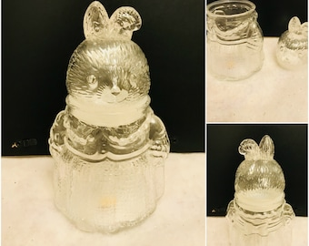 Vintage Glass Rabbit Airtight Storage Jar