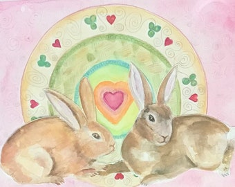 Original Two Bunnies with Heart Watercolor and Gouache Painting