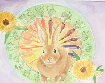 Original Rabbit with Carrots Watercolor and gouache collage painting