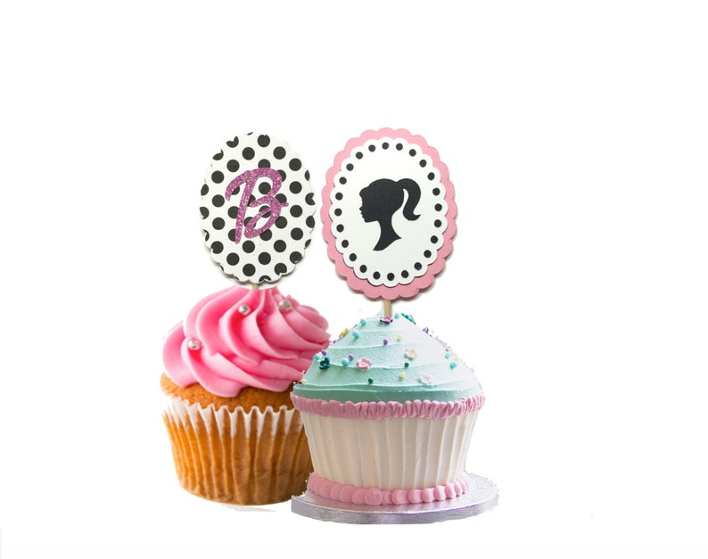 12 Barbie Cupcake Toppers Set Of Girl Birthday Cake