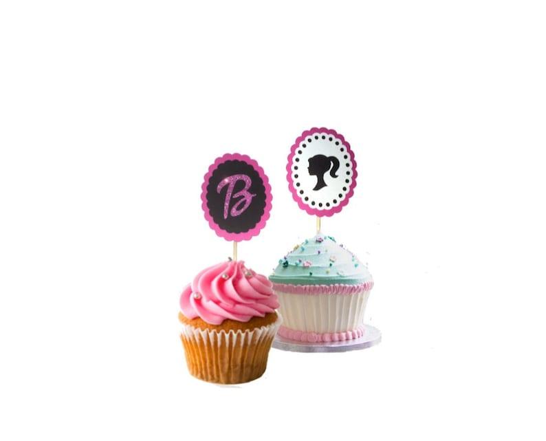 Surprising 12 Barbie Cupcake Toppers Set Of 12 Girl Birthday Cake Etsy Personalised Birthday Cards Beptaeletsinfo