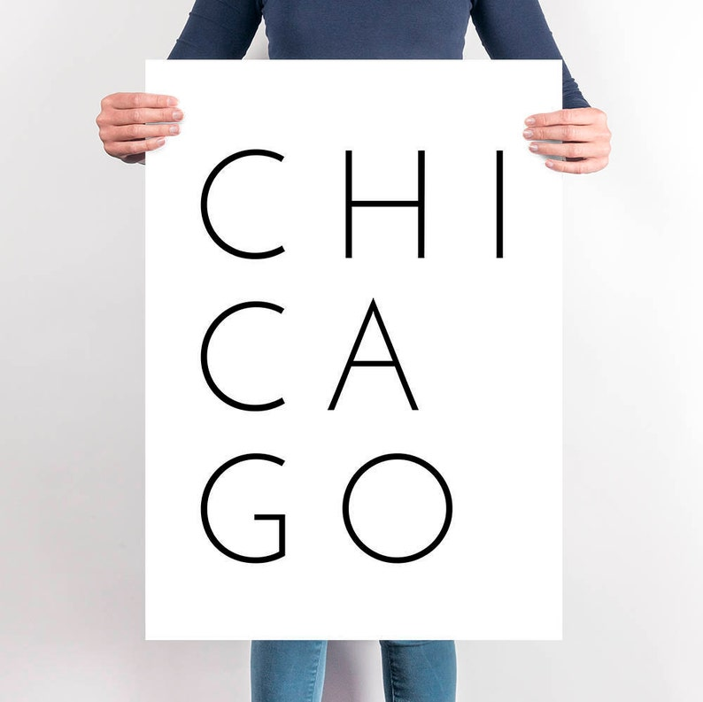 Chicago Modern Typography Poster Minimalist Chicago Black And Etsy