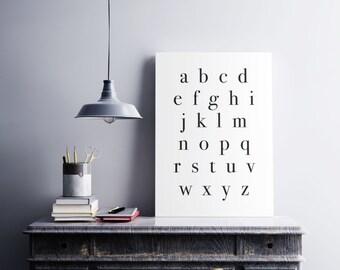 Printable Black and White Alphabet Print Typography Lowercase Alphabet Square ABC Poster Size Print Nursery Decor Modern Bedroom Decor