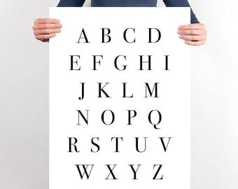 Black and White Alphabet PRINTABLE, Monochrome ABC Poster, Alphabet Wall Art Print, Black and White Art, Large Wall Art Bedroom Decor