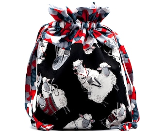 Drawstring Project Bag with Cute Sheep Knitting for Knit and Crochet in Black, White and Red