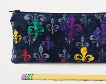 Fleur de Lis Pencil Case, Fleur de Lis on Black Pencil Case, Soft Pencil Case, Small Cosmetic Pouch, Colorful Fleur de Lis