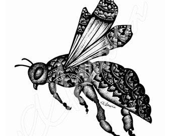 Bumble Bee Keychain  Bag Charm White and Aqua Colorshift Dots