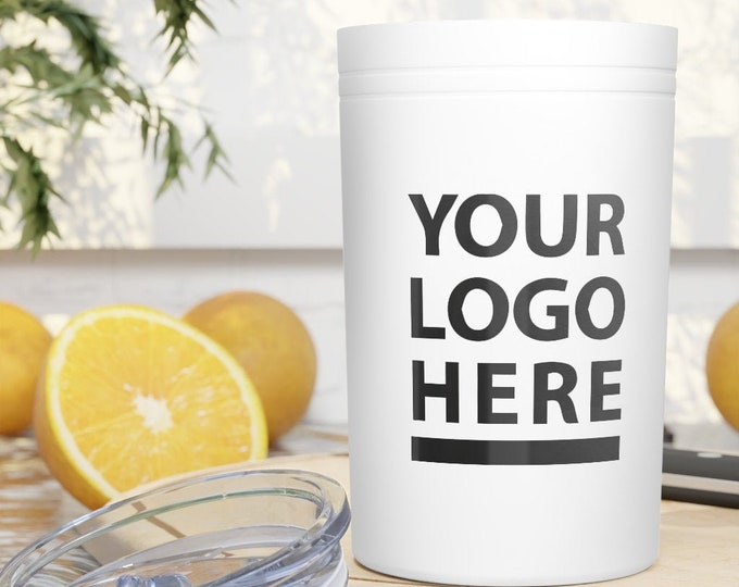 Custom Tumbler Personalized Vacuum Tumbler & Insulator, 11oz. Customizable with your logo text and image