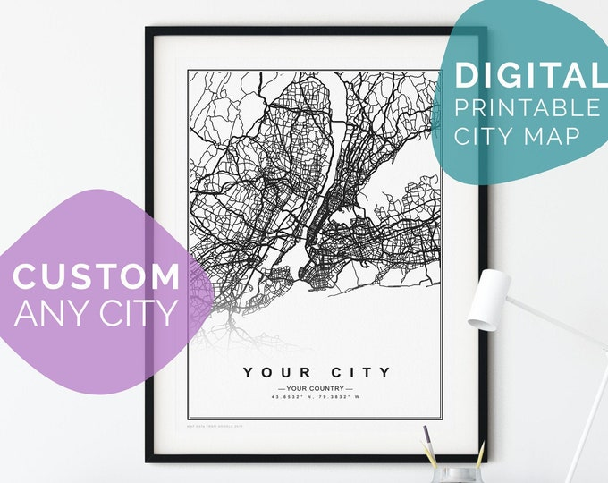 CUSTOM City Map Poster with Your City - Digital Circle City Map Printable on Wall decor including Framed/unframed Poster | Canvas | Tapestry