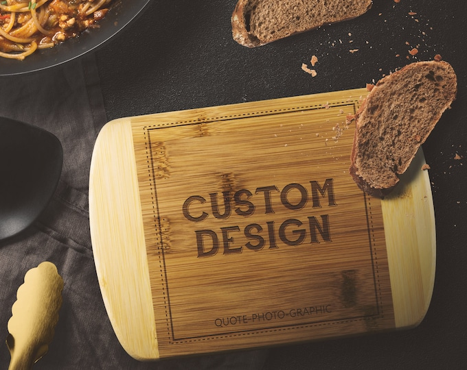 Round Edge Wood Cutting Board for Kitchen, Custom Cutting board wood Small Large Personalized With name coordinate State Monogram