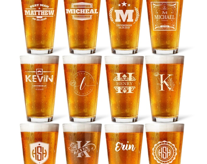 Groomsmen Pint Glasses Custom Pint Glass Groomsmen gifts, Personalized glass, Bridal Party, Best Man Glass, Wedding Glasses