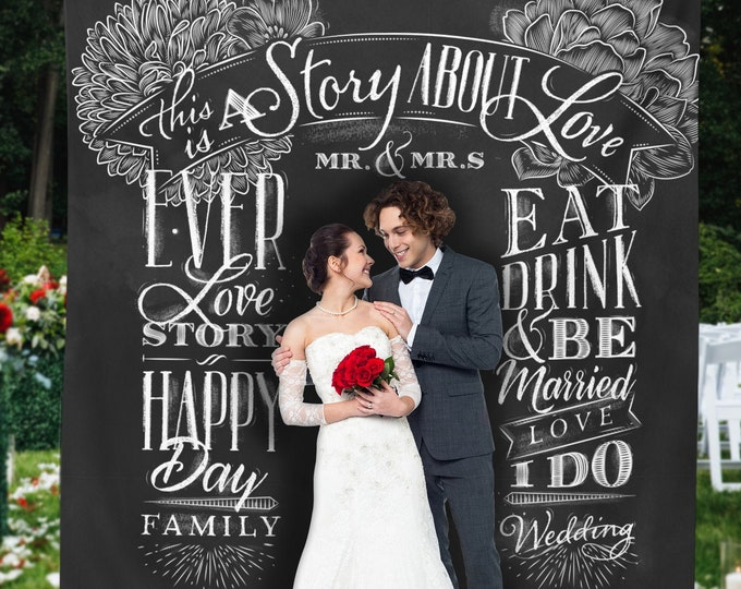 Wedding Backdrop, Custom Wedding Photo Booth Chalkboard Style Backdrop Banner, Step and Repeat Backdrop, Wedding tapestry