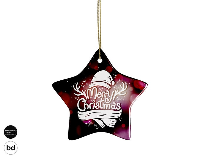 Ceramic Christmas Ornaments | Personalized Ornaments | Custom Ornaments print with picture, Image, Text, quote | Engagement wedding ornament