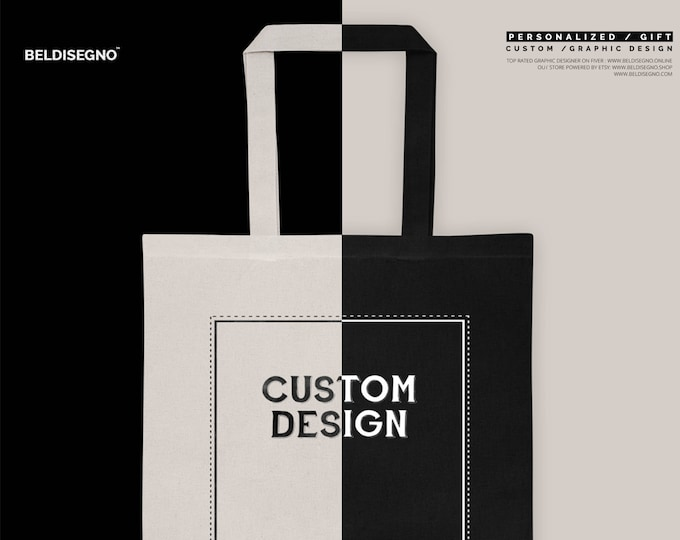 Custom Tote Bag, Logo Bag, Tote with your logo, Personalized Black And Oyster Tote Bag Free personalization