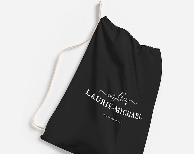 Monogrammed Laundry Bags for College, Small | Large Canvas Laundry Bag, Personalized Custom Laundry Bag